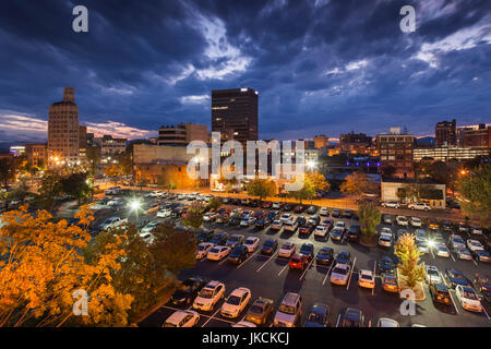 USA, North Carolina, Asheville, elevated view of downtown, dusk