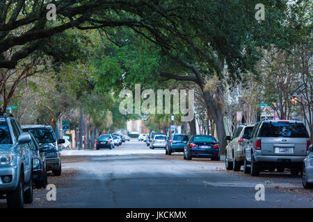USA, South Carolina, Charleston, Church Street, dawn - Stock Photo