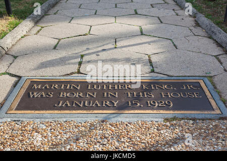 USA, Georgia, Atlanta, Martin Luther King National Historic Site, birthplace of Rev. Martin Luther King, plaque - Stock Photo