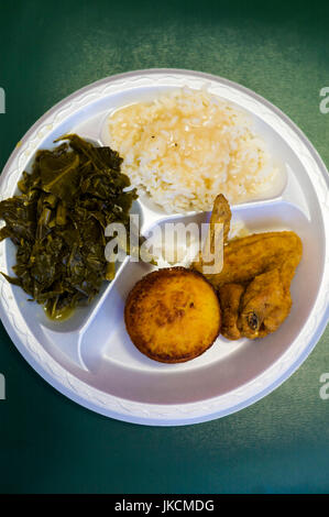 USA, Georgia, Athens, Weaver D's soul food restaurant, interior, fried chicken, rice, collared greens and cornbread, - Stock Photo