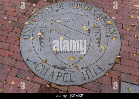 USA, North Carolina, Chapel Hill, University of North Carolina at Chapel Hill, walkway crest