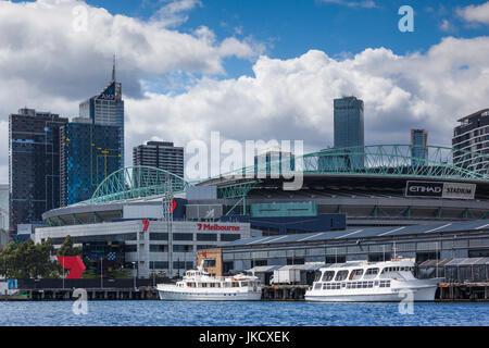 Australia, Victoria, VIC, Melbourne, Docklands, Victoria Harbour, Harbour Town Complex, Etihad Stadium - Stock Photo