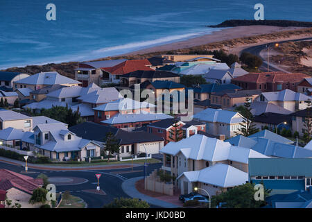 Australia, Western Australia, Bunbury, elevated view of beach houses from Marlston Hill, dawn - Stock Photo