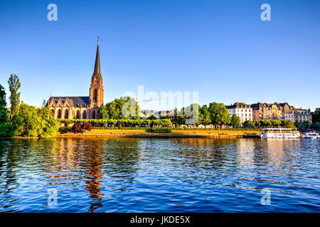 Frankfurt and Main River waterfront, Germany - Stock Photo