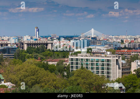 Romania, Bucharest, Palace of Parliament, world's second-largest building, Museum of Contemporary Art, elevated - Stock Photo