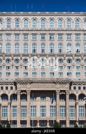 Romania, Bucharest, Palace of Parliament, world's second-largest building, morning - Stock Photo