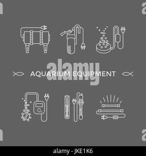 Thin line vector icons - aquarium equipment - Stock Photo