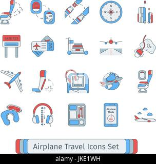 Set of isolated thin lined outlined icons for airplane travel. - Stock Photo