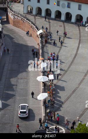 Romania, Transylvania, Sibiu, Piata Mica Square, elevated view - Stock Photo