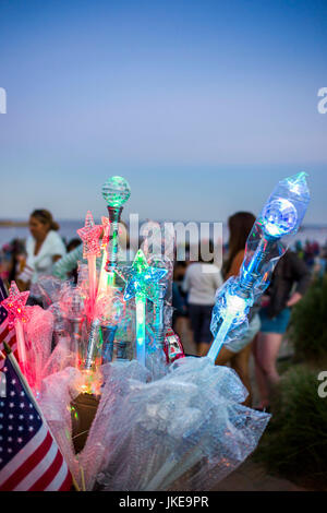 USA, Massachusetts, Cape Ann, Manchester By The Sea, Fourth of July, Independence Day Fireworks festivities on Singing - Stock Photo
