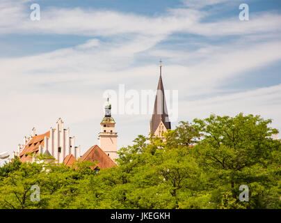 The town hall and the church - Historic buildings in Ingolstadt (Bavaria, Germany) - Stock Photo