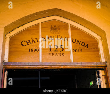 Arch above entrance to Chateau Tanunda in the Barossa Valley, South Australia - Stock Photo