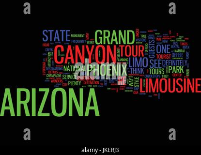 ARIZONA LIMOUSINE TOURS CAN TAKE YOU ANYWHERE Text Background Word Cloud Concept - Stock Photo