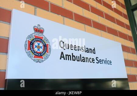 Queensland Ambulance Service Australia in Brisbane Australia. Queensland Ambulance Service is the chief provider - Stock Photo