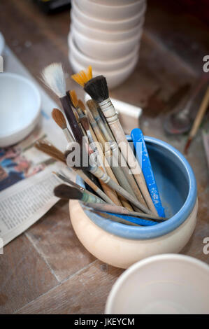 paint brushes at Rene Klohte at  Pottery in Halle-Salle, Germany. - Stock Photo