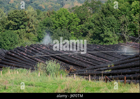 Irrigation of piles of wood, Sauerland, North Rhine-Westphalia, Germany / timberyard | Nassholzlager, Bewaesserung - Stock Photo