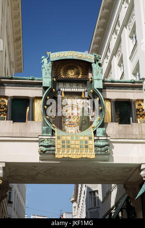 Anker clock (Ankeruhr, 1911) in Hoher Markt - famous astronomical clock in Vienna, Austria. Anker clock built by - Stock Photo