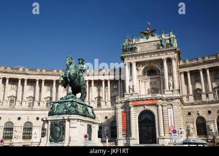 Equestrian statue of Prince Eugene of Savoy (Prinz Eugen von Savoyen) in front of Hofburg palace. Vienna, Austria - Stock Photo