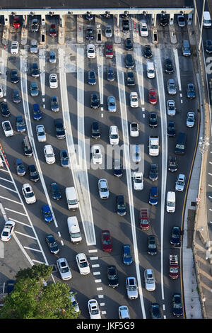 USA, New Jersey, rush hour traffic at Fort Lee in the morning, aerial view - Stock Photo