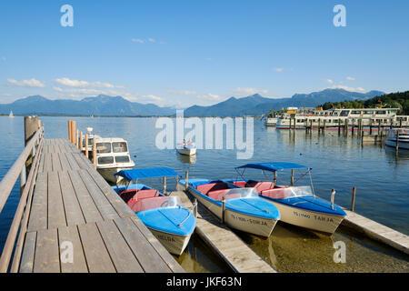Harbour on the Chiemsee lake, Prien Stock, Upper Bavaria, Bavaria, Germany, Europe - Stock Photo