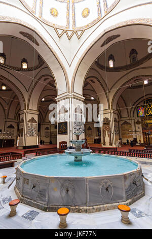 Interior of the Grand Mosque known also as Ulu Mosque, in Bursa, Turkey. - Stock Photo