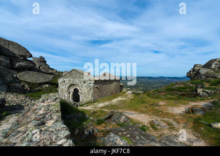 The romanic chapel of Sao Miguel (Capela de São Miguel) in the outskirts of the medieval village of Monsanto in - Stock Photo