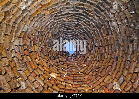 Interior of the dome of an adobe house in Harran, Turkey. - Stock Photo