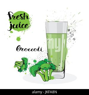 Broccoli Juice Fresh Hand Drawn Watercolor Vegetable And Glass On White Background - Stock Photo