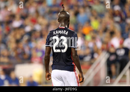 Gillette Stadium. 22nd July, 2017. MA, USA; New England Revolution forward Kei Kamara (23) during the MLS match - Stock Photo