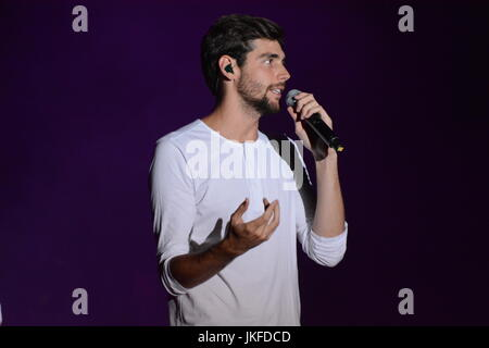 Naples, Italy. 22nd July, 2017. Álvaro Soler spanish singer and songwriter performs on the stage of the ETES Arena - Stock Photo