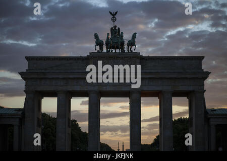 Berlin, Germany. 24th July, 2017. A view of Brandenburg Gate, at Berlin's Parizer Platz, July 23, 2017. Credit: - Stock Photo