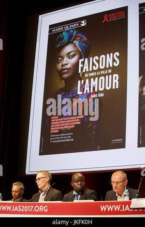 Paris, France, IAS, International AIDS Society Meeting, hiv, AIDS Poster, Paris sans SIDA - Stock Photo