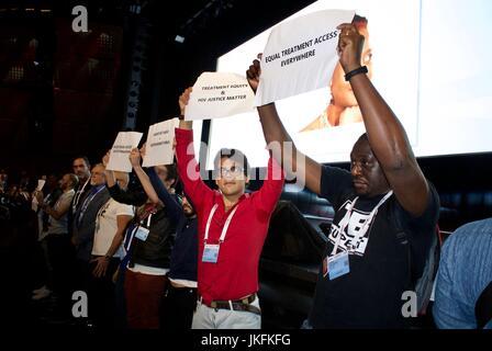 Paris, France, IAS, International AIDS Society Meeting, International AIDS Activists Protesting French President - Stock Photo