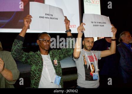 Paris, France, IAS, International AIDS Society Meeting, International AIDS Activists Protest French President Emmanuel - Stock Photo