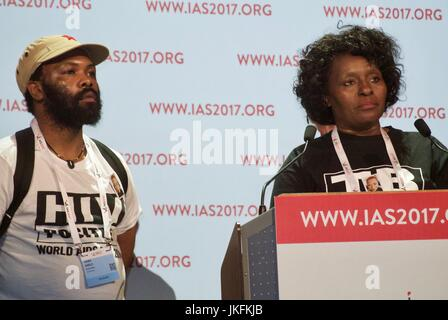 Paris, France, IAS, International AIDS Society Meeting, AIDS Activists Interrupt French Health Minister Speech, - Stock Photo