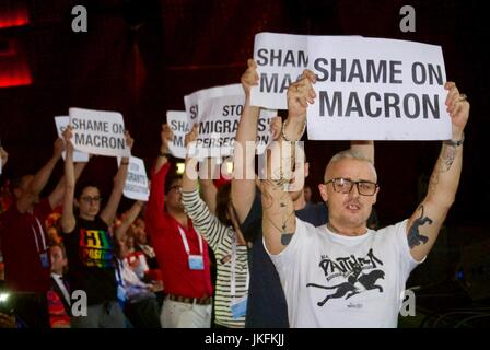 Paris, France, IAS, International AIDS Society Meeting, Activists, French protesters Holding Signs avaient Macron - Stock Photo