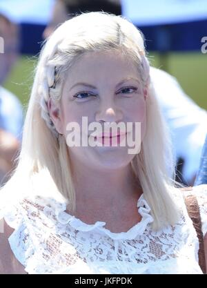 Tori Spelling at arrivals for THE EMOJI MOVIE Premiere, Regency Village Theatre, Los Angeles, CA July 23, 2017. - Stock Photo