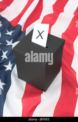 Black ballot box + American  US Stars and Stripes - US Presidential, midterm elections, US Primaries, voter registration, - Stock Photo