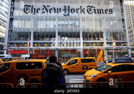 New York City, Manhattan,  sign from the outside of the New York Times office on 8th Street - Stock Photo
