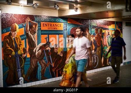 New York City, Manhattan, United States,   Times Square subway murals - Stock Photo