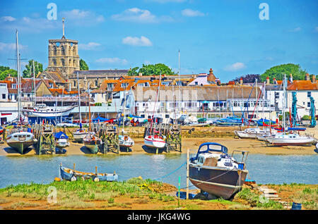 St Mary De Haura Church, View of Shoreham By The Sea, From River Adur, Sussex, England - Stock Photo