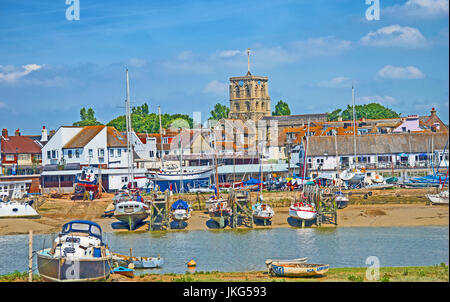 St Mary De Haura Church, View of Shoerham By The Sea, From River Adur, Sussex, England - Stock Photo