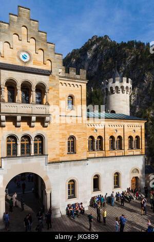 Germany, Bavaria, Hohenschwangau, Schloss Neuschwanstein castle, courtyard view - Stock Photo