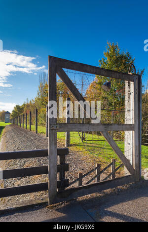 Germany, Bavaria, Munich - Dachau, WW-2 era Nazi concentration camp, fence - Stock Photo
