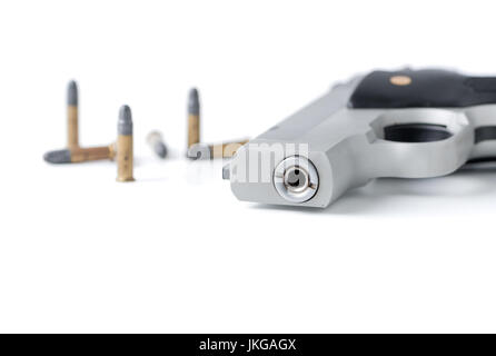 closed up of automatic gun barrel and bullet isolated on white background - Stock Photo