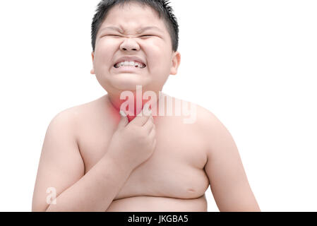 Obese fat boy scratch the itch with hand, throat irritation, isolated on white, Concept with Healthcare and Medicine - Stock Photo