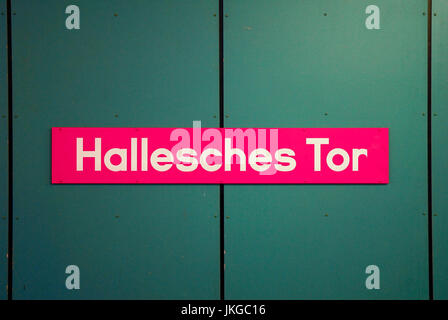 Hallesches Tor U-bahn station name plate in Berlin,Germany. - Stock Photo