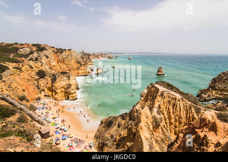 Enjoying in wonderful close up view on seascape with stunning huge rocks cliffs with seas caves. Summer vocation. - Stock Photo