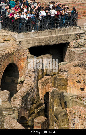 Vertical view of tourists inside the Colosseum in Rome. - Stock Photo