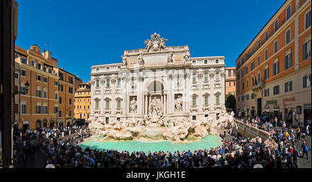 Horizontal panoramic view of the Trevi Fountain in Rome.